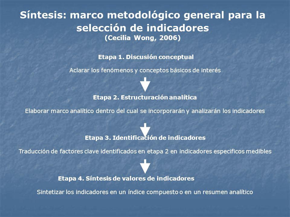 Etapa 1. Discusión conceptual Aclarar los fenómenos y conceptos básicos de interés Etapa 2. Estructuración analítica Elaborar marco analítico dentro d