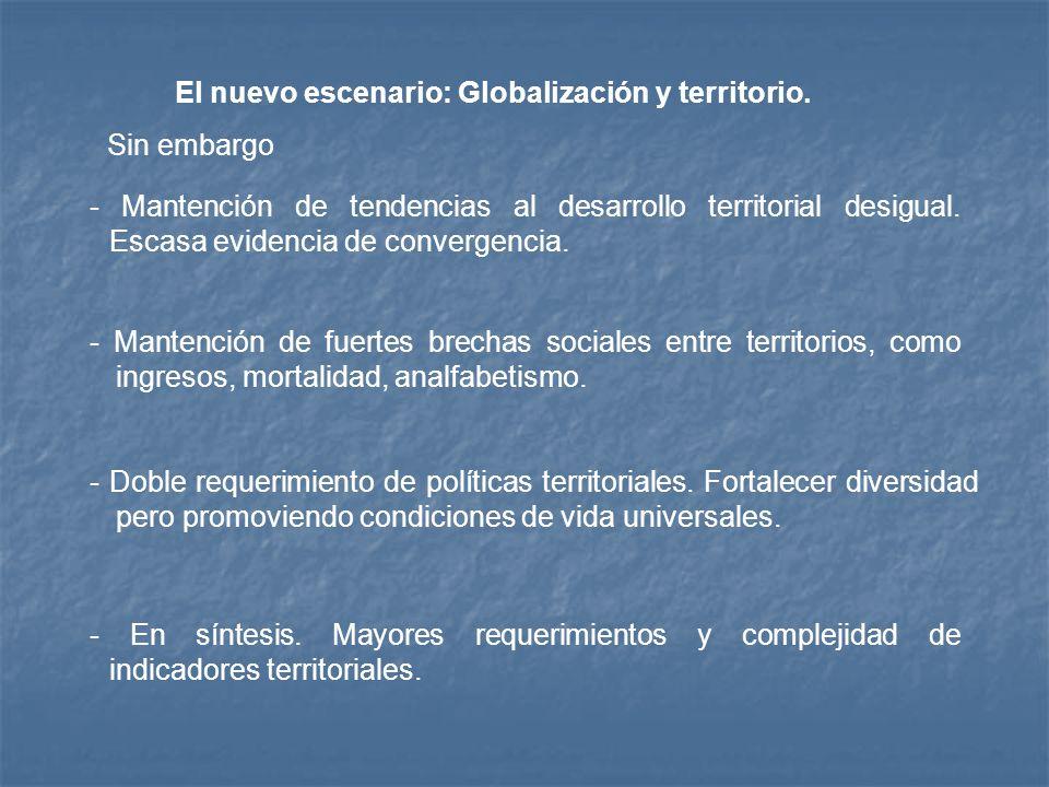 - En síntesis. Mayores requerimientos y complejidad de indicadores territoriales. El nuevo escenario: Globalización y territorio. - Mantención de fuer