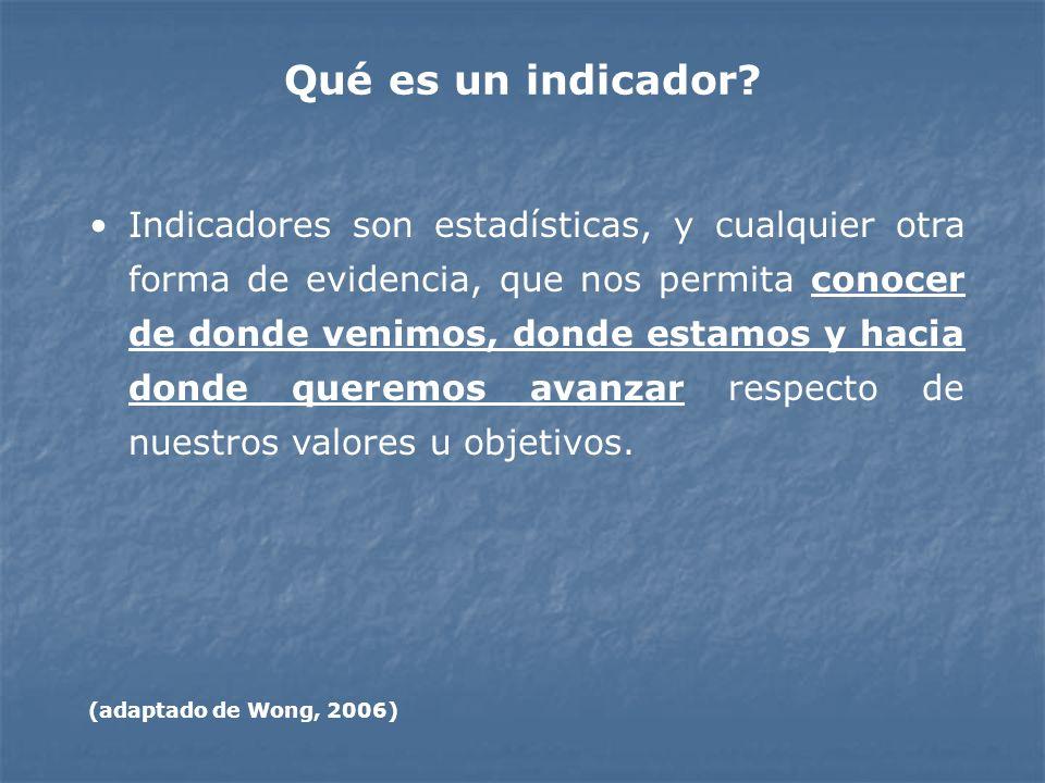 Qué es un indicador? Indicadores son estadísticas, y cualquier otra forma de evidencia, que nos permita conocer de donde venimos, donde estamos y haci