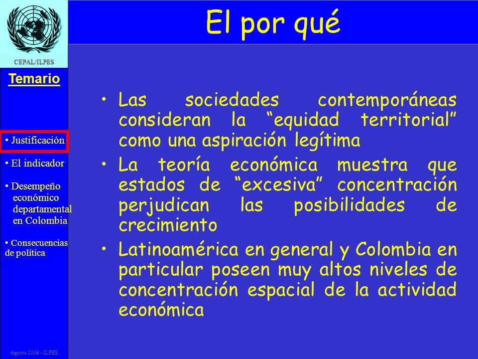 Justificación El indicador Desempeño económico departamental en Colombia Consecuencias de política Temario CEPAL/ILPES Agosto 2004 - ILPES El por qué