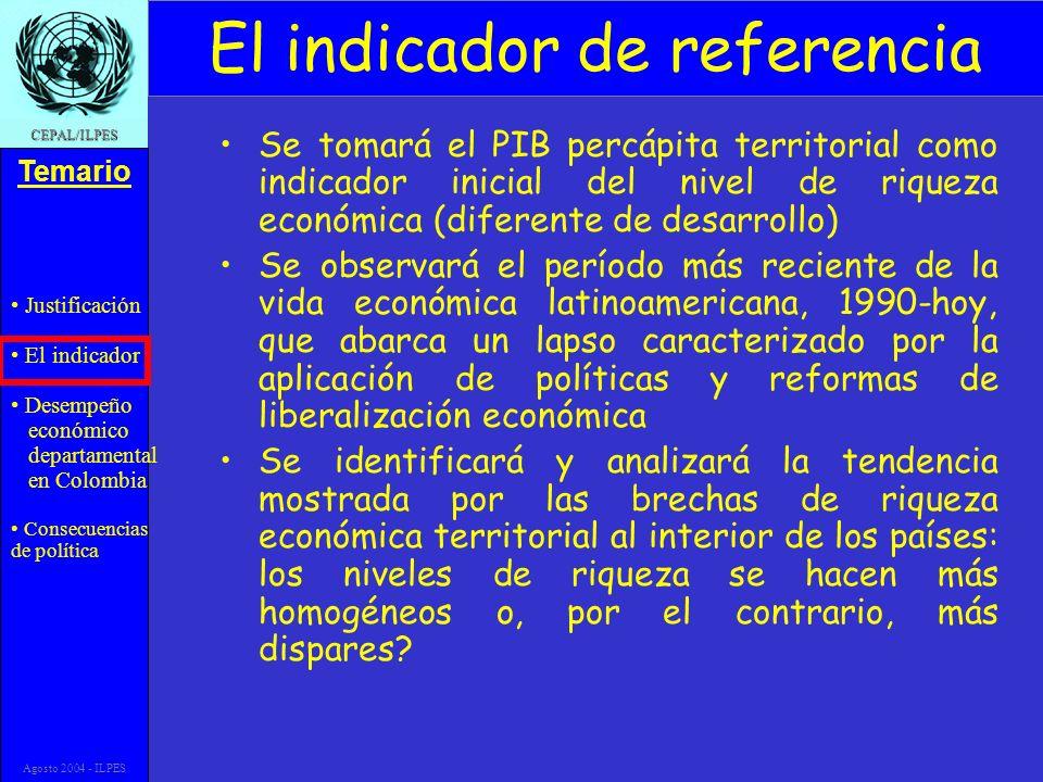 Justificación El indicador Desempeño económico departamental en Colombia Consecuencias de política Temario CEPAL/ILPES Agosto 2004 - ILPES El indicado