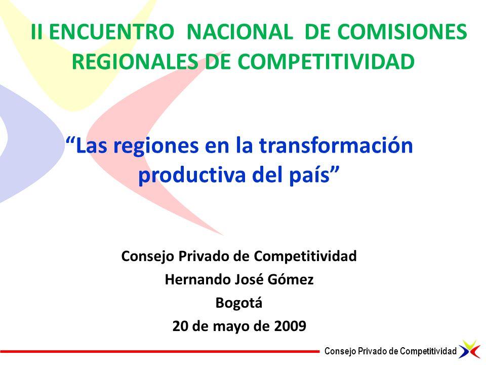 Consejo Privado de Competitividad II ENCUENTRO NACIONAL DE COMISIONES REGIONALES DE COMPETITIVIDAD Consejo Privado de Competitividad Hernando José Góm