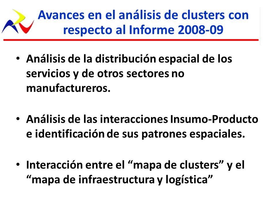 Análisis de la distribución espacial de los servicios y de otros sectores no manufactureros. Análisis de las interacciones Insumo-Producto e identific