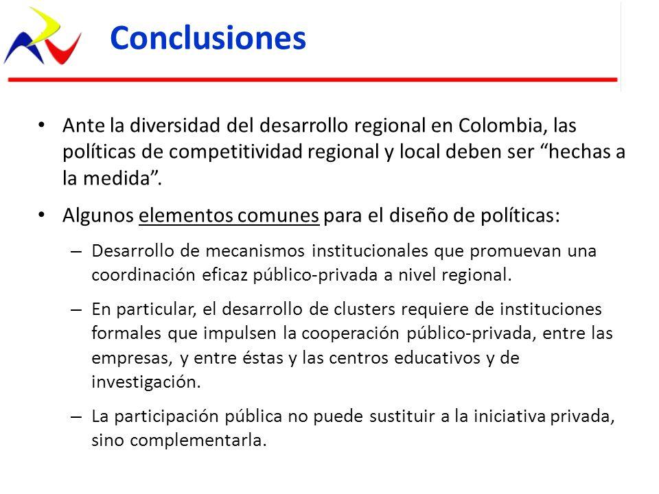 Ante la diversidad del desarrollo regional en Colombia, las políticas de competitividad regional y local deben ser hechas a la medida. Algunos element
