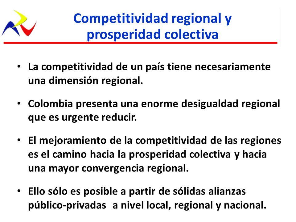 La competitividad de un país tiene necesariamente una dimensión regional. Colombia presenta una enorme desigualdad regional que es urgente reducir. El
