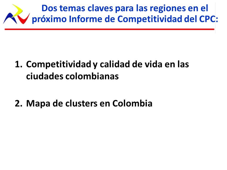1.Competitividad y calidad de vida en las ciudades colombianas 2.Mapa de clusters en Colombia Dos temas claves para las regiones en el próximo Informe