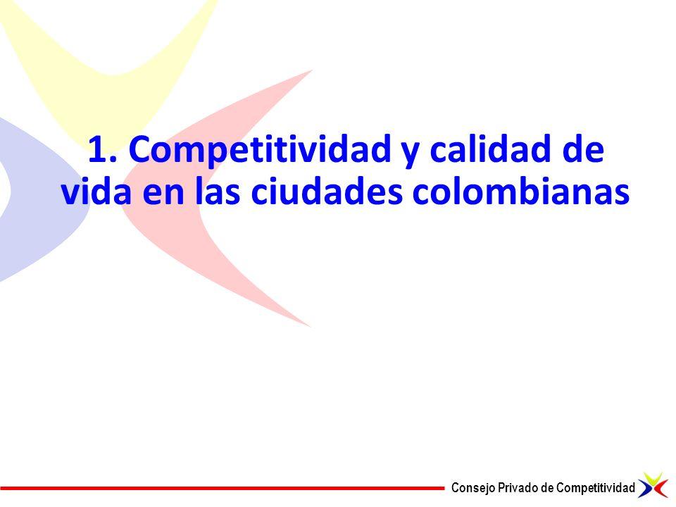 Consejo Privado de Competitividad 1. Competitividad y calidad de vida en las ciudades colombianas
