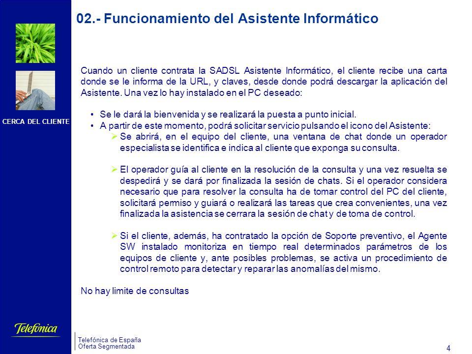 CERCA DEL CLIENTE Telefónica de España Oferta Segmentada 3 s 01.- Descripción y características de la Solución ADSL Asistente Informático (II) El servicio cubre: Sistemas Operativos: Windows 98, Windows NT, Windows 2000, Windows XP Aplicaciones Ofimáticas: Microsoft Office Utilidades:Acrobat, WinZip, Winrar, Windows Media Player.