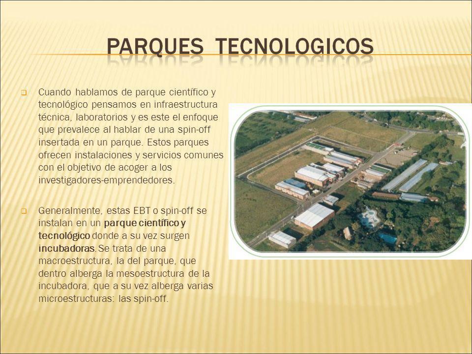 Cuando hablamos de parque científico y tecnológico pensamos en infraestructura técnica, laboratorios y es este el enfoque que prevalece al hablar de una spin-off insertada en un parque.