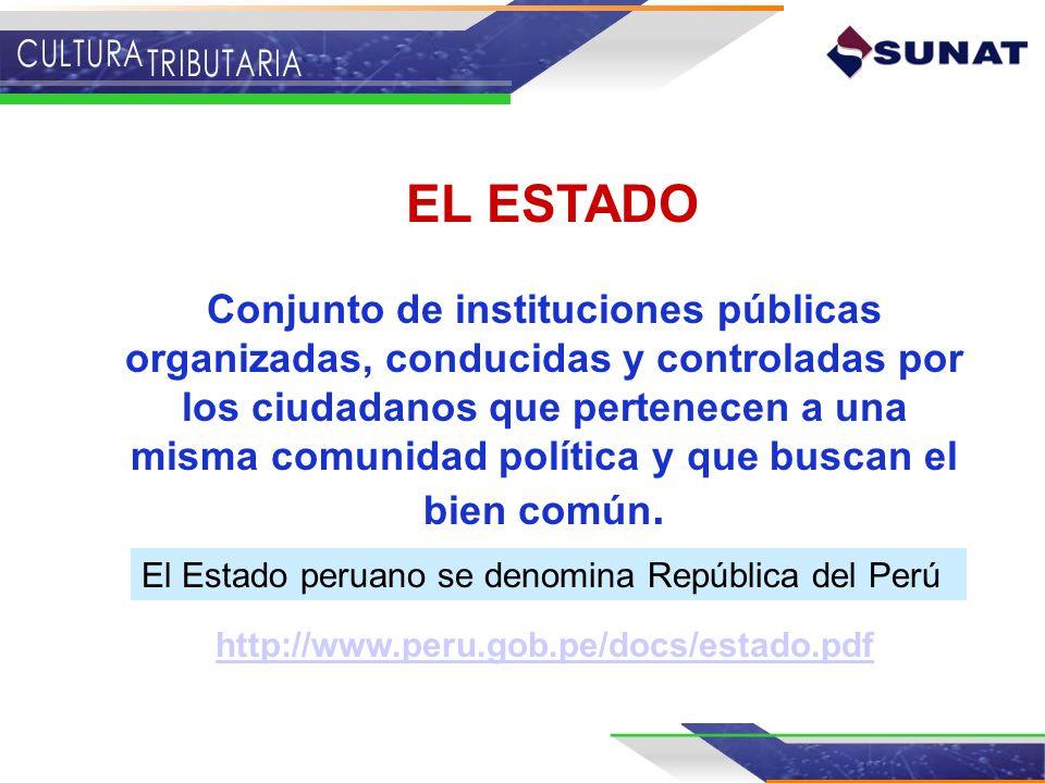 EL ESTADO Conjunto de instituciones públicas organizadas, conducidas y controladas por los ciudadanos que pertenecen a una misma comunidad política y
