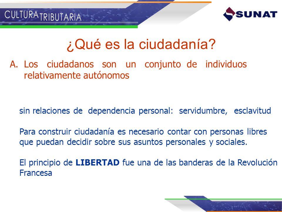 ¿Qué es la ciudadanía? A.Los ciudadanos son un conjunto de individuos relativamente autónomos sin relaciones de dependencia personal: servidumbre, esc