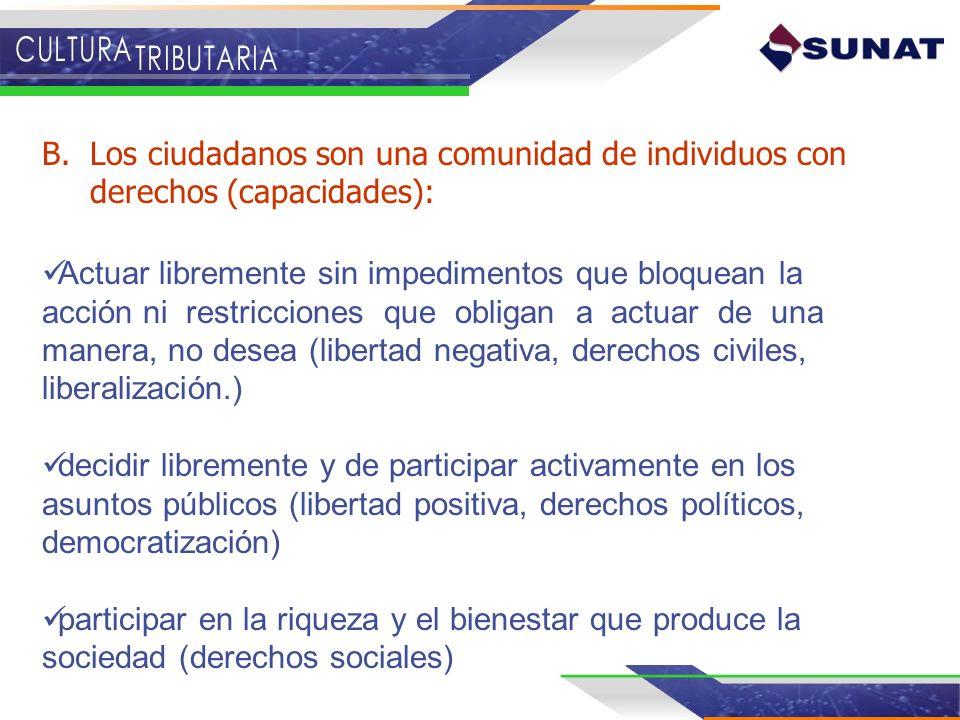 B.Los ciudadanos son una comunidad de individuos con derechos (capacidades): Actuar libremente sin impedimentos que bloquean la acción ni restriccione