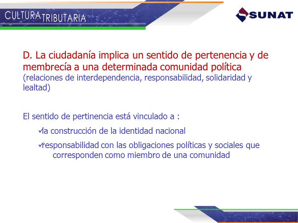 D. La ciudadanía implica un sentido de pertenencia y de membrecía a una determinada comunidad política (relaciones de interdependencia, responsabilida