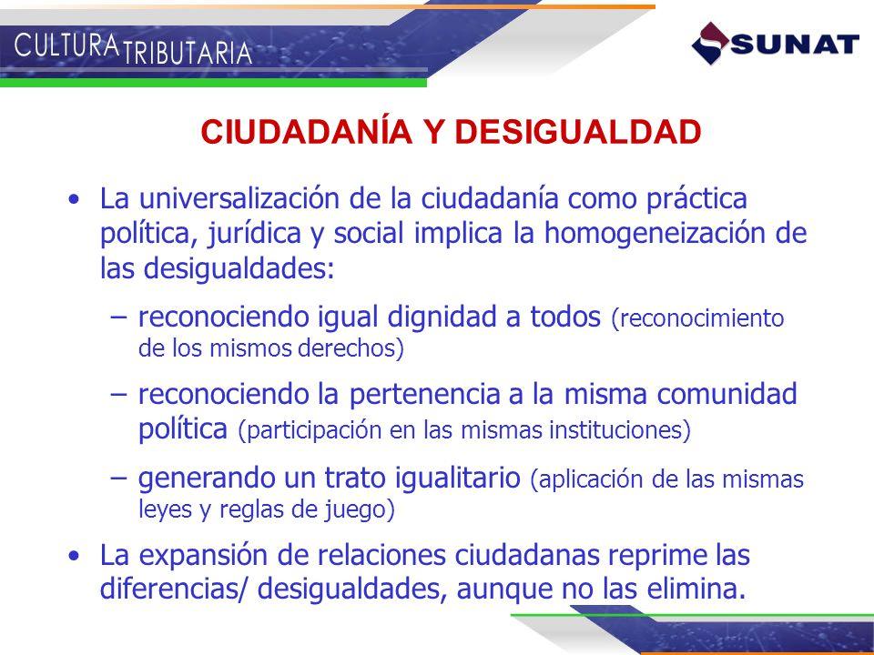 La universalización de la ciudadanía como práctica política, jurídica y social implica la homogeneización de las desigualdades: –reconociendo igual di