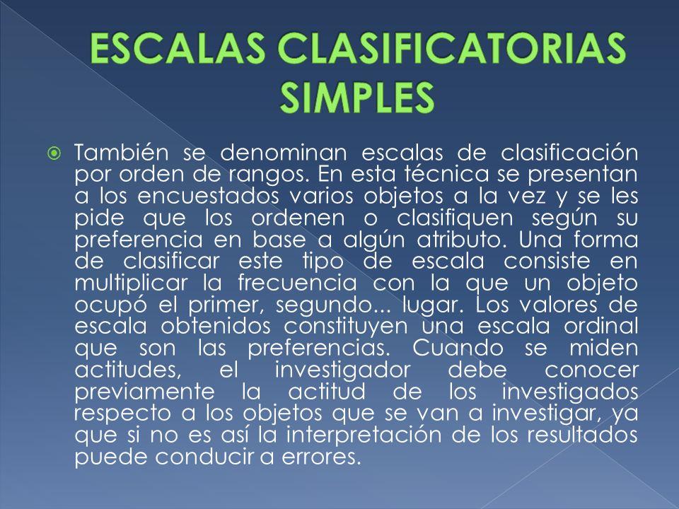 También se denominan escalas de clasificación por orden de rangos. En esta técnica se presentan a los encuestados varios objetos a la vez y se les pid