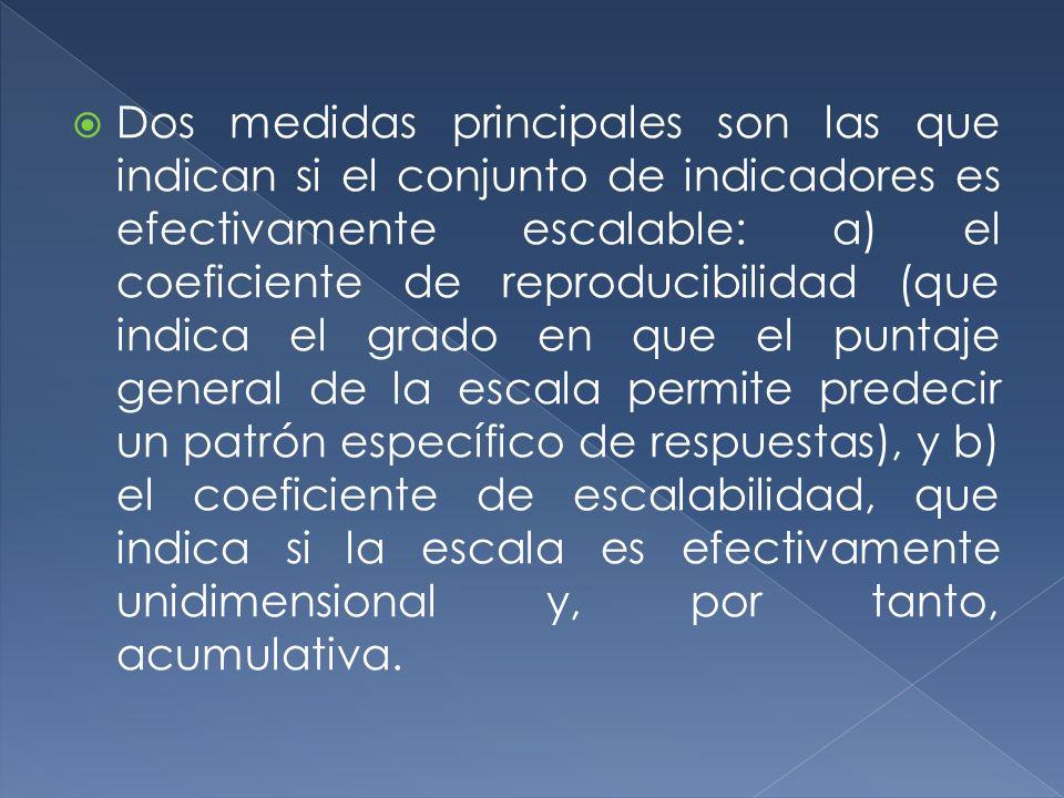 Dos medidas principales son las que indican si el conjunto de indicadores es efectivamente escalable: a) el coeficiente de reproducibilidad (que indic