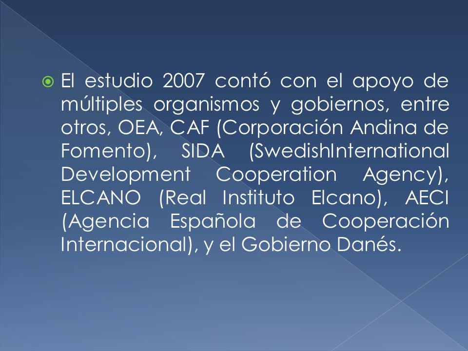 El estudio 2007 contó con el apoyo de múltiples organismos y gobiernos, entre otros, OEA, CAF (Corporación Andina de Fomento), SIDA (SwedishInternatio