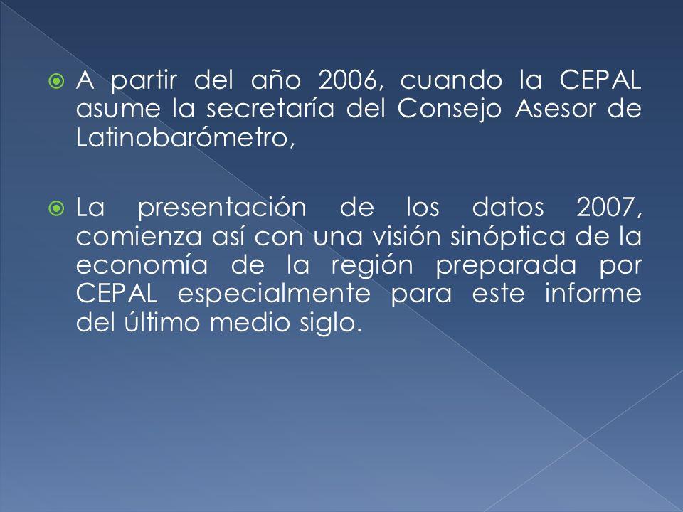 A partir del año 2006, cuando la CEPAL asume la secretaría del Consejo Asesor de Latinobarómetro, La presentación de los datos 2007, comienza así con