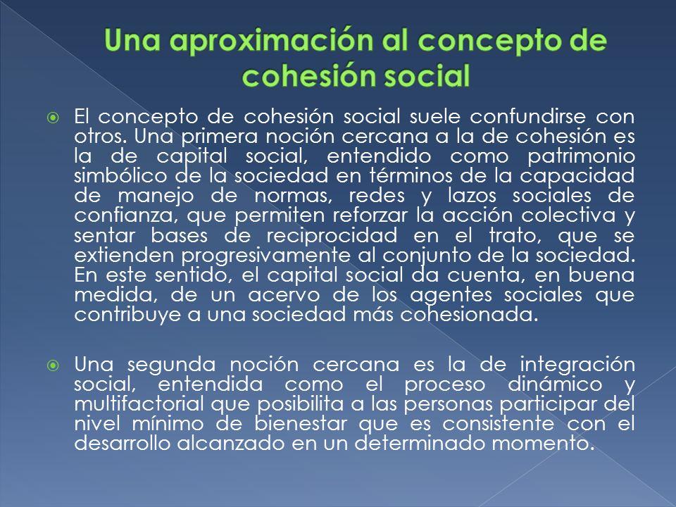 El concepto de cohesión social suele confundirse con otros. Una primera noción cercana a la de cohesión es la de capital social, entendido como patrim