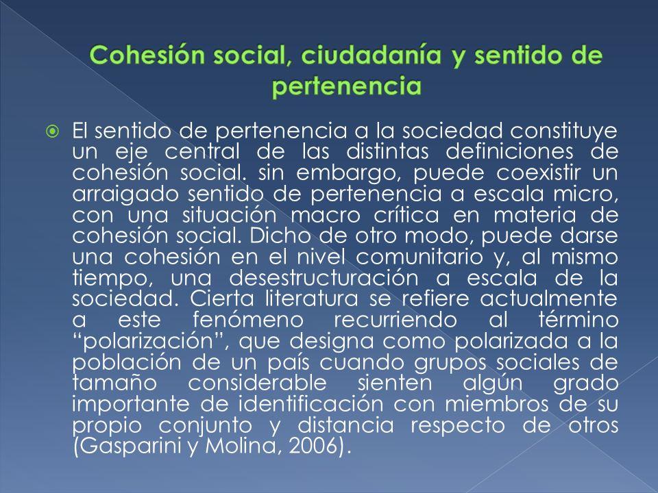 El sentido de pertenencia a la sociedad constituye un eje central de las distintas definiciones de cohesión social. sin embargo, puede coexistir un ar