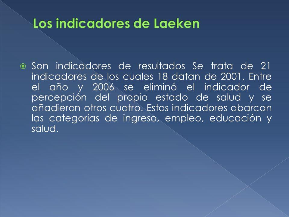 Son indicadores de resultados Se trata de 21 indicadores de los cuales 18 datan de 2001. Entre el año y 2006 se eliminó el indicador de percepción del
