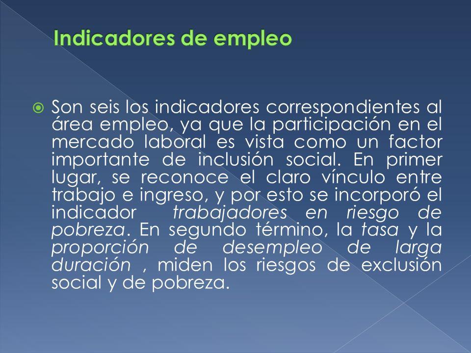 Son seis los indicadores correspondientes al área empleo, ya que la participación en el mercado laboral es vista como un factor importante de inclusió