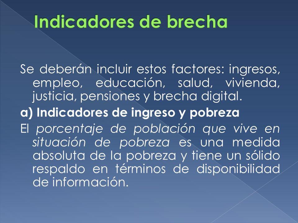 Se deberán incluir estos factores: ingresos, empleo, educación, salud, vivienda, justicia, pensiones y brecha digital. a) Indicadores de ingreso y pob