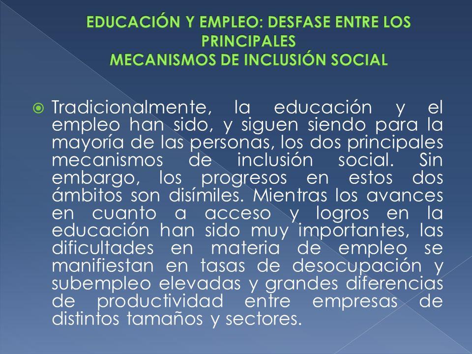 Tradicionalmente, la educación y el empleo han sido, y siguen siendo para la mayoría de las personas, los dos principales mecanismos de inclusión soci