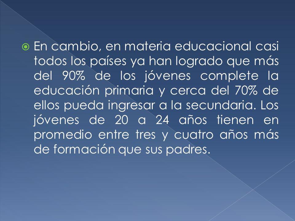 En cambio, en materia educacional casi todos los países ya han logrado que más del 90% de los jóvenes complete la educación primaria y cerca del 70% d
