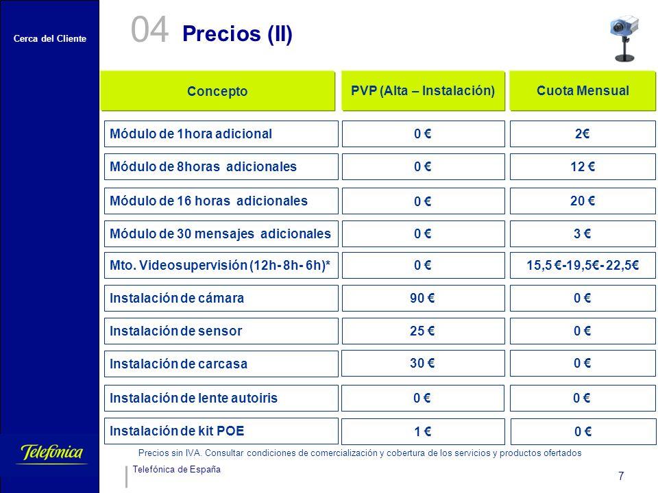 Cerca del Cliente Telefónica de España 7 Precios (II) 04 Módulo de 1hora adicional 0 20 0 12 ConceptoPVP (Alta – Instalación)Cuota Mensual 0 2 Mto.