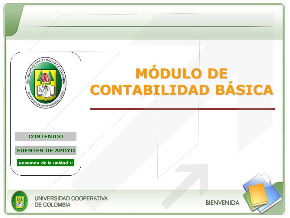 MÓDULO DE CONTABILIDAD BÁSICA CONTENIDO FUENTES DE APOYO Resumen de la unidad C