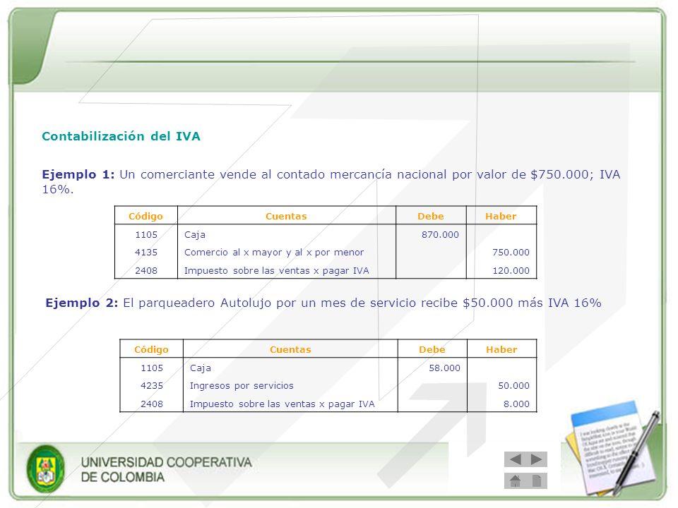 Contabilización del IVA Ejemplo 1: Un comerciante vende al contado mercancía nacional por valor de $750.000; IVA 16%. CódigoCuentasDebeHaber 1105Caja8