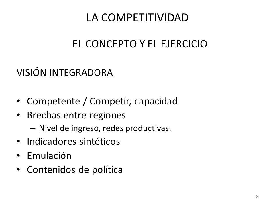 LA COMPETITIVIDAD EL CONCEPTO Y EL EJERCICIO VISIÓN INTEGRADORA Competente / Competir, capacidad Brechas entre regiones – Nivel de ingreso, redes prod