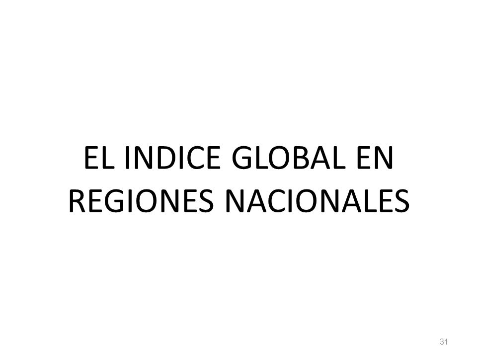 EL INDICE GLOBAL EN REGIONES NACIONALES 31