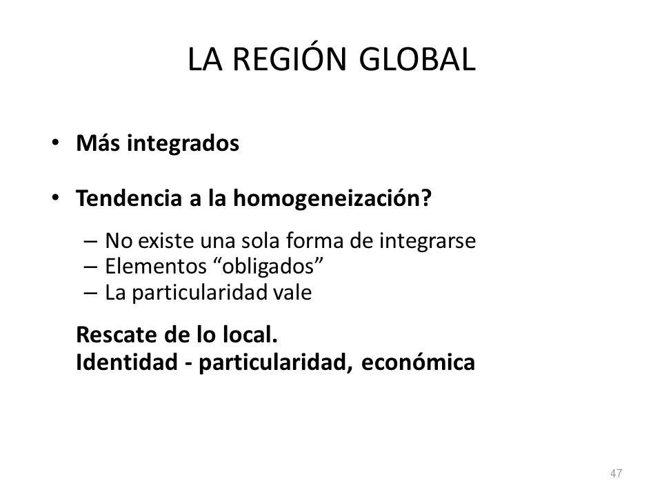 LA REGIÓN GLOBAL Más integrados Tendencia a la homogeneización? – No existe una sola forma de integrarse – Elementos obligados – La particularidad val