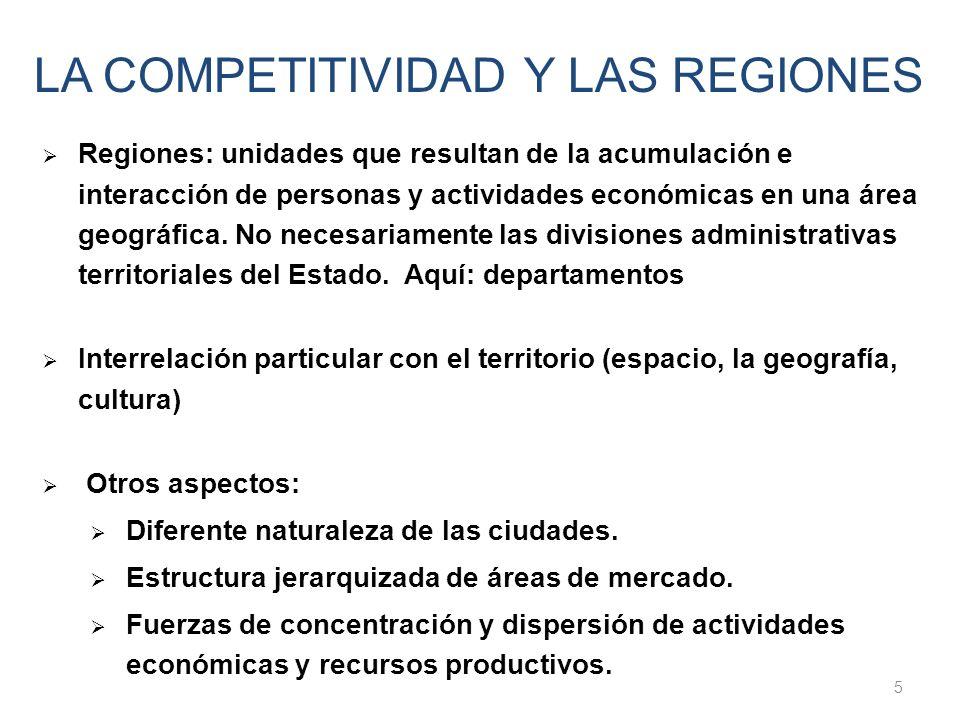 Regiones: unidades que resultan de la acumulación e interacción de personas y actividades económicas en una área geográfica. No necesariamente las div