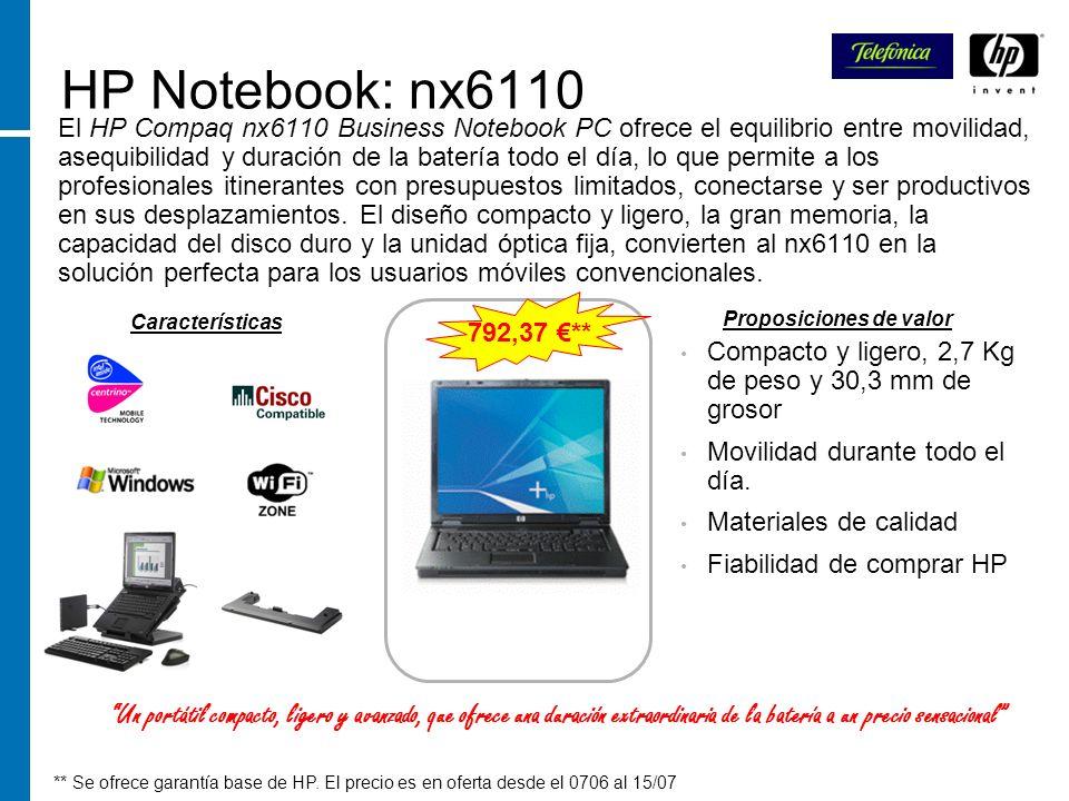 HP Notebook: nx6110 El HP Compaq nx6110 Business Notebook PC ofrece el equilibrio entre movilidad, asequibilidad y duración de la batería todo el día,