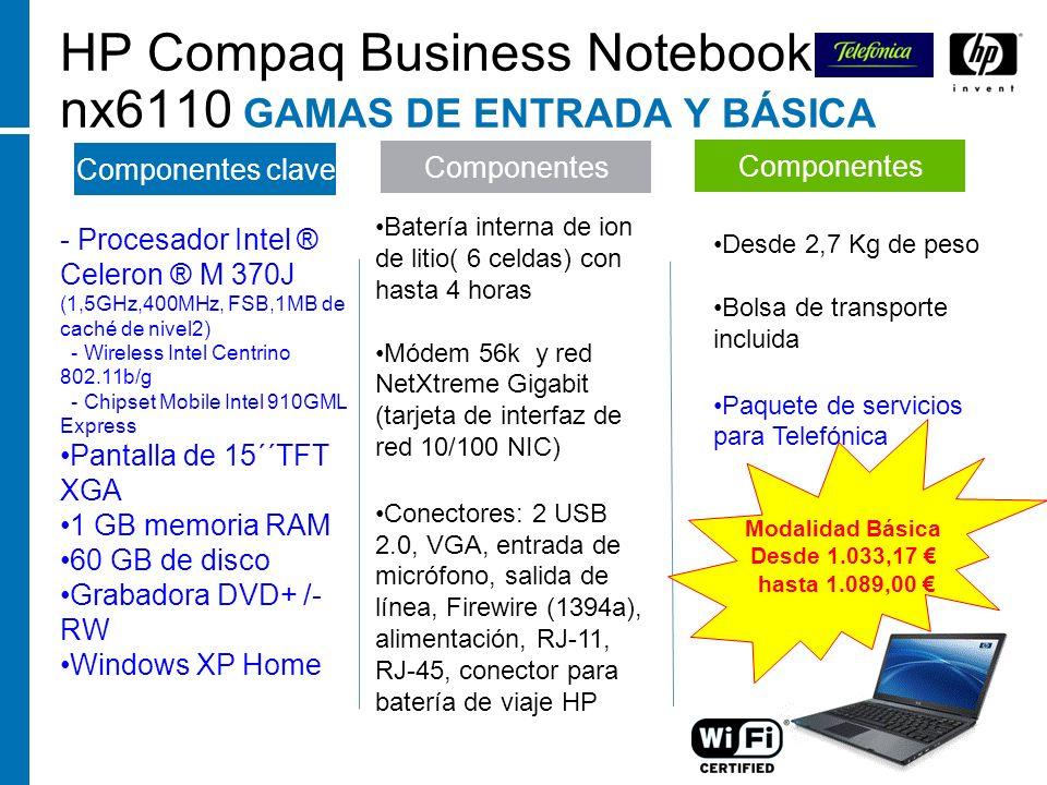 - Procesador Intel ® Celeron ® M 370J (1,5GHz,400MHz, FSB,1MB de caché de nivel2) - Wireless Intel Centrino 802.11b/g - Chipset Mobile Intel 910GML Ex