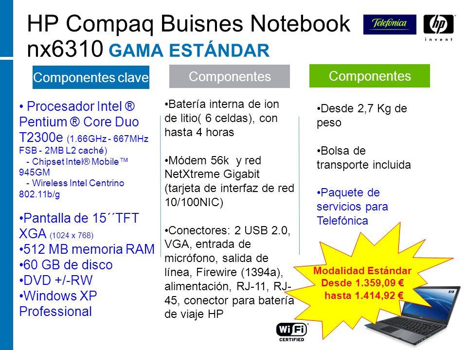 HP Compaq Buisnes Notebook nx6310 GAMA ESTÁNDAR Componentes Componentes clave Procesador Intel ® Pentium ® Core Duo T2300e (1.66GHz - 667MHz FSB - 2MB
