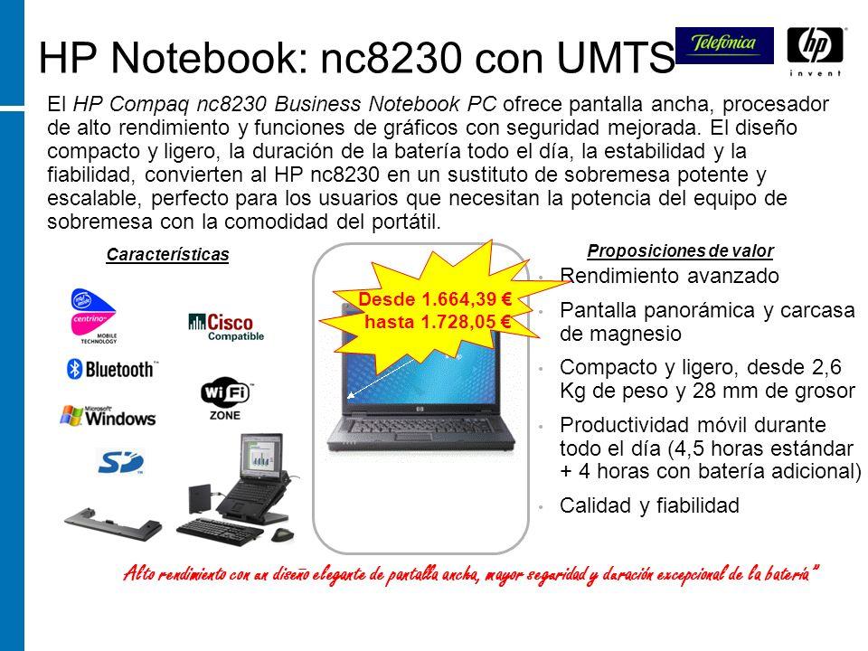 HP Notebook: nc8230 con UMTS El HP Compaq nc8230 Business Notebook PC ofrece pantalla ancha, procesador de alto rendimiento y funciones de gráficos co