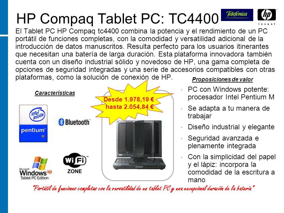 HP Compaq Tablet PC: TC4400 El Tablet PC HP Compaq tc4400 combina la potencia y el rendimiento de un PC portátil de funciones completas, con la comodi