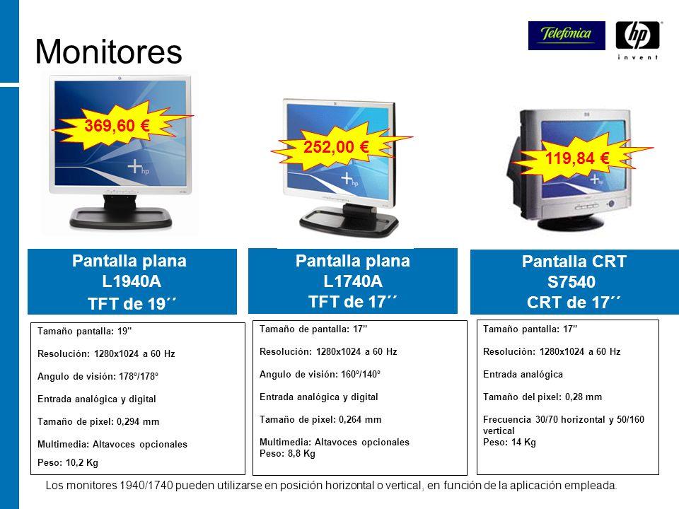 Monitores Pantalla plana L1740A TFT de 17´´ Pantalla CRT S7540 CRT de 17´´ Los monitores 1940/1740 pueden utilizarse en posición horizontal o vertical
