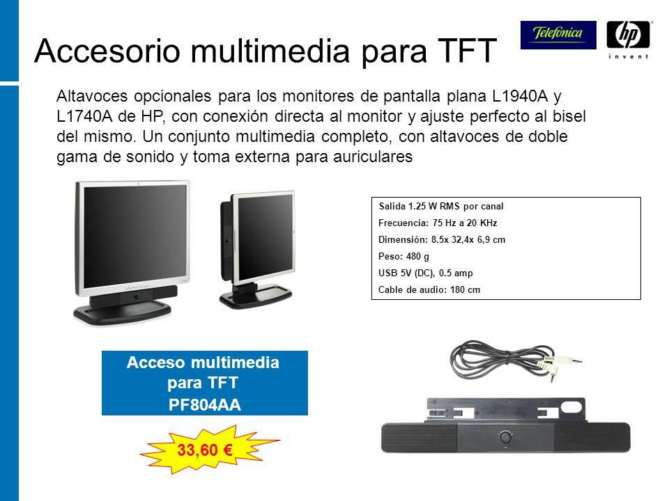 Accesorio multimedia para TFT Altavoces opcionales para los monitores de pantalla plana L1940A y L1740A de HP, con conexión directa al monitor y ajust