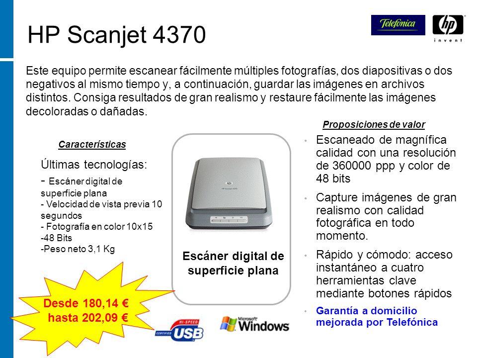 HP Scanjet 4370 Este equipo permite escanear fácilmente múltiples fotografías, dos diapositivas o dos negativos al mismo tiempo y, a continuación, gua