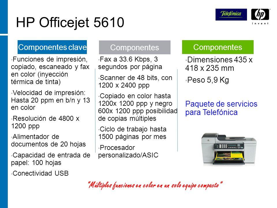 HP Officejet 5610 Funciones de impresión, copiado, escaneado y fax en color (inyección térmica de tinta) Velocidad de impresión: Hasta 20 ppm en b/n y