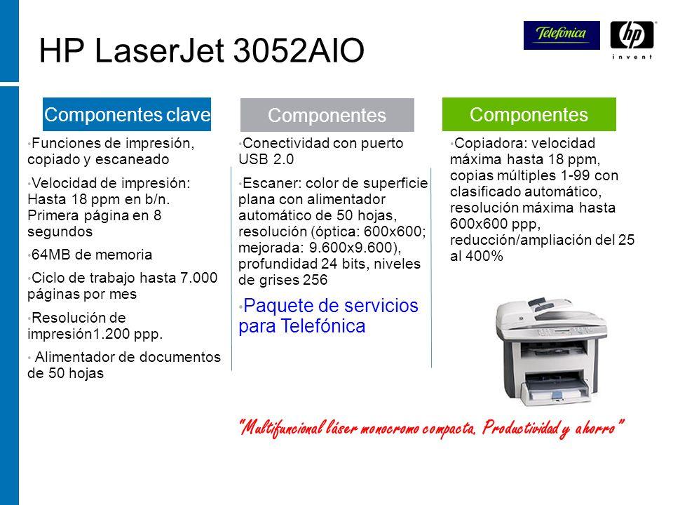 HP LaserJet 3052AIO Funciones de impresión, copiado y escaneado Velocidad de impresión: Hasta 18 ppm en b/n. Primera página en 8 segundos 64MB de memo