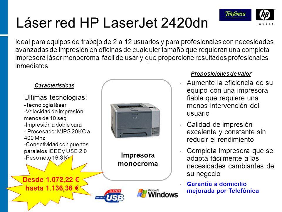 Láser red HP LaserJet 2420dn Ideal para equipos de trabajo de 2 a 12 usuarios y para profesionales con necesidades avanzadas de impresión en oficinas