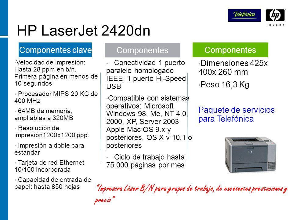 HP LaserJet 2420dn Velocidad de impresión: Hasta 28 ppm en b/n. Primera página en menos de 10 segundos Procesador MIPS 20 KC de 400 MHz 64MB de memori
