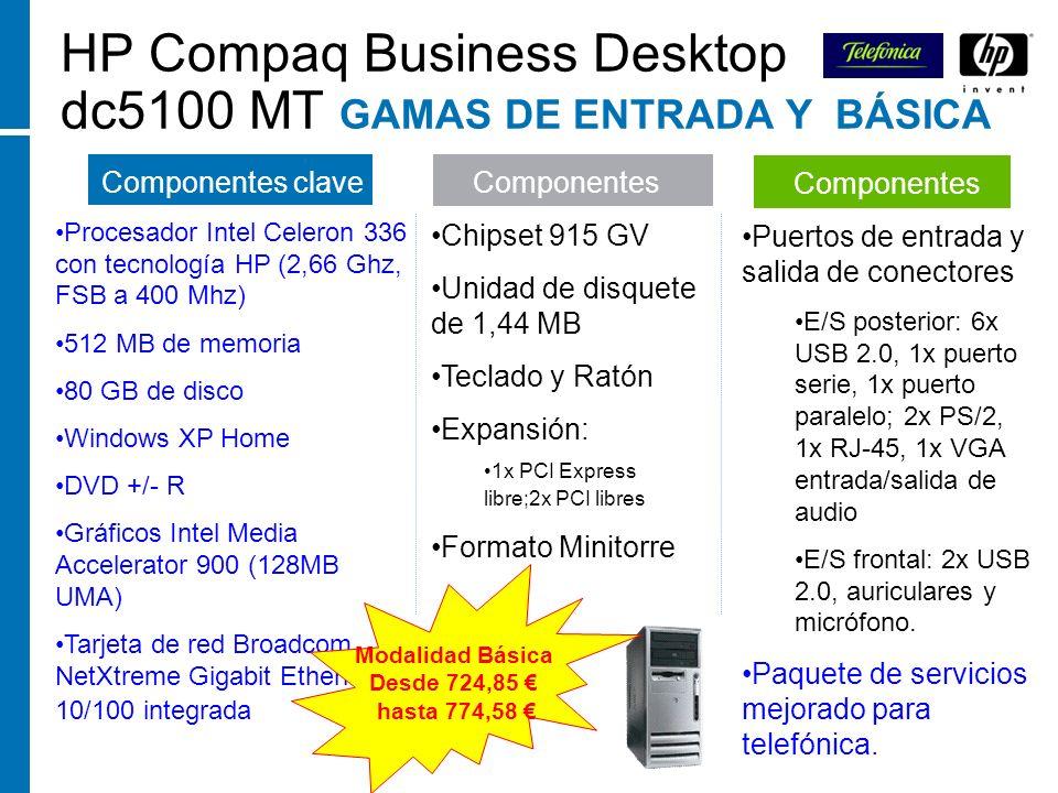 HP Compaq Business Desktop dc5100 MT GAMAS DE ENTRADA Y BÁSICA Componentes clave Procesador Intel Celeron 336 con tecnología HP (2,66 Ghz, FSB a 400 M
