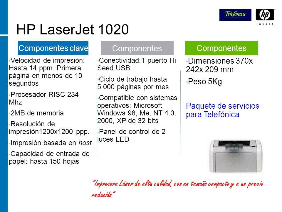 HP LaserJet 1020 Velocidad de impresión: Hasta 14 ppm. Primera página en menos de 10 segundos Procesador RISC 234 Mhz 2MB de memoria Resolución de imp